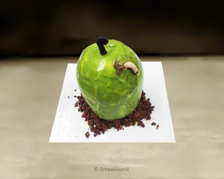 De appel als 3D figuurtaart door patisserie en chocolaterie Smaakkunst te Roeselare