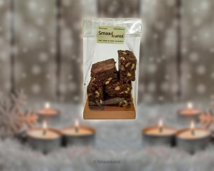 Overheerlijke brownies uit het assortiment Kerst- en eindejaarsgebak door patisserie en chocolaterie Smaakkunst Roeselare