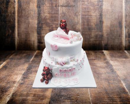 Stapeltaart doop door patisserie en chocolaterie Smaakkunst te Roeselare