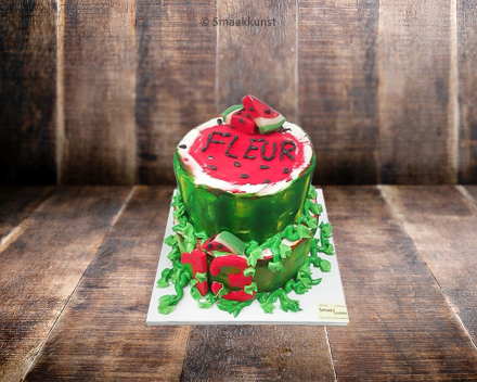 Stapeltaart watermeloen door patisserie en chocolaterie Smaakkunst te Roeselare